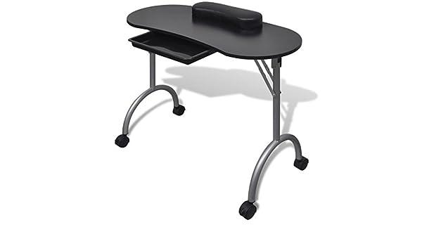 weilandeal mesa de manicura plegable negra con roulettesdimensions ...