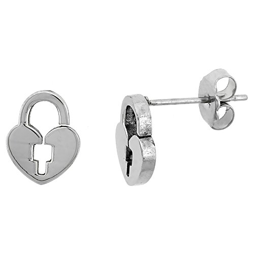 Small Stainless Steel Padlock Earrings