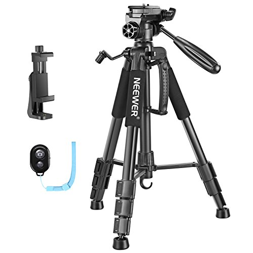Neewer 56 inches Aluminum Camera Tripod with 3-Way Swivel Pan Head,Cellphone Holder,Bag for iPhone,Samsung,Huawei Smartphone,DSLR Camera,Load up to 8.8 pounds Black(SAB234) by Neewer