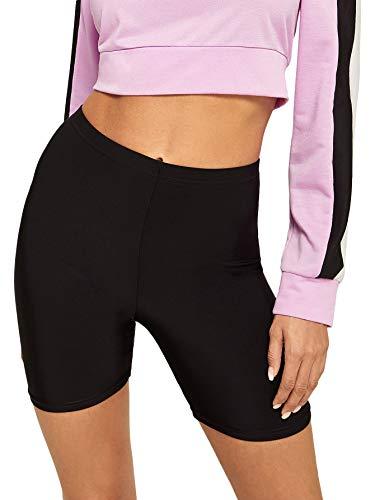 SweatyRocks Women's Sexy Lace Trim Slip Shorts Yoga Bike Active Short Leggings Black ()