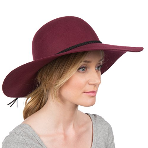 Sakkas 2041SS Greta Vintage Style Wool Floppy Hat - Burgundy - One Size