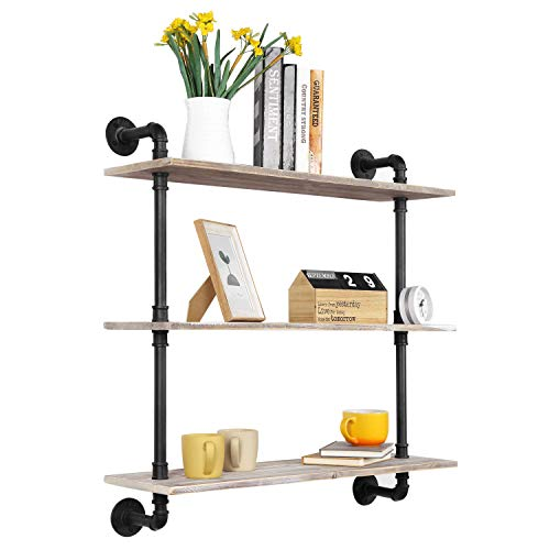 MyGift 3-Tier Rustic Wood Wall Mounted Floating Display Shelf with Black Industrial Style Pipe, Brown