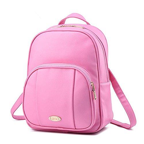 LDMB Bolsos para mujer PU cuero Coreano Casual Vertical sección relieve Color sólido alumnas mochila bolso , purple taro Pink