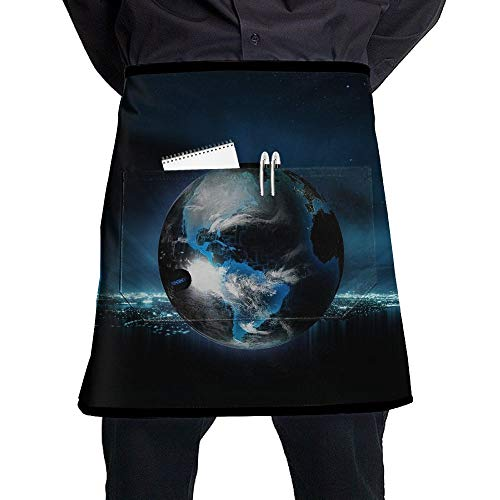 Waist Short Apron Half Chef Apron With Pockets Fantasy Globe Planet Print Home Kitchen Cooking Pinafore For Bistro Restaurant Cafe Pub BBQ Grill -