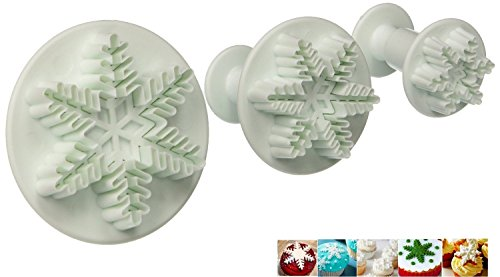 Elinka Fondant Cake Cutter Mold Decorating Plunger Sugarcraft Snowflake Cutter Tools Set of 3