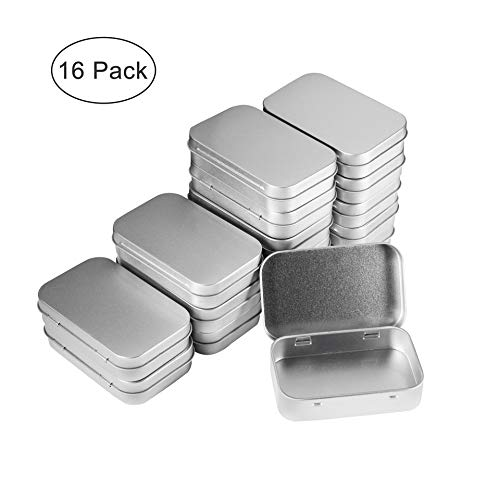 Metal Empty Hinged Tins Box Rectangular Mini Portable Storage Containers Kit for Craft Gift, Home Organizer, Silver (16PCS)