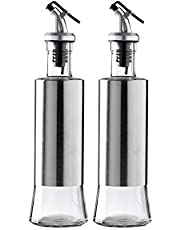 2 Piece Olive Oil and Vinegar Dispensers Set, Oil dispensers/Vinegar Glass Bottles with Drip-Free Pourers and Premium Stainless Steel Shells.
