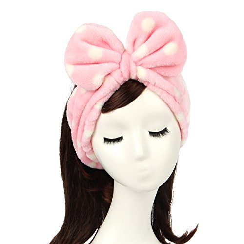 Shintop Women Fashion Lovely Soft Carol Fleece Bowknot Bow Makeup Cosmetic Shower Elastic Hair Band Hairlace Headband (pink polka dots) (Headband Fleece Womens)