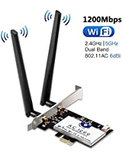 Tarjeta de Red Wi-Fi con Bluetooth 4.2, Hommie 1200M 867mbps Adaptador de Red Gigabit PCI, Inalámbrico Express Doble Banda 802.11ac, Intel 7265AC Tarjeta Wifi con 2 Antenas 6db, Win7/8/10, Linux4.2+