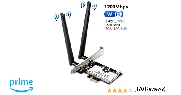 Tarjeta de Red Wi-Fi con Bluetooth 4.2, Hommie 1200M 867mbps ...