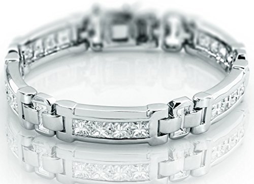 Sterling Silver Princess Bracelets (Men's Sterling Silver .925 Bracelet with 20 Fancy Princess shaped Cubic Zirconia (CZ) Stones, all Channel set, Box Lock, Platinum Plated. Sizes available 8