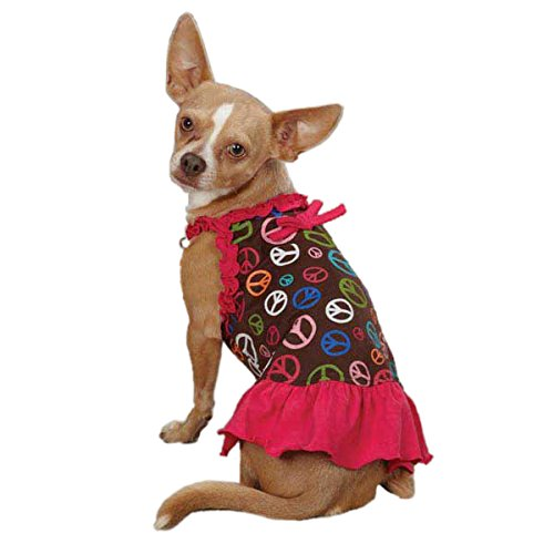 East Side Collection ZM3038 10 81 Peace Out Dress for Dogs, X-Small, Raspberry