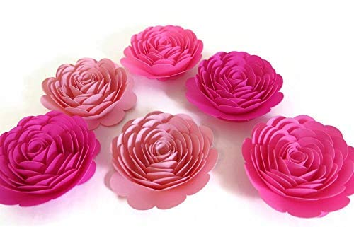 Shades of Pink Roses 3 Inch Paper Flowers Set of 6 Girl Baby Shower Decorations Wedding Place Card Holders Paris Theme Birthday Decor Nursery Wall Art