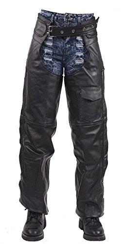 Insulated Braided Leather Motorcycle Chaps Small by Billys Biker Gear (Image #2)
