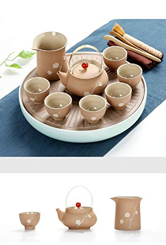 Chuangrong Porcelain Tea Sets Plum Pattern Portable Ceramic Teapot Firewood Coarse Pottery Chinese Gift Tea Set of 13 Gift Box for Business Friend Adult Men by Chuangrong (Image #1)