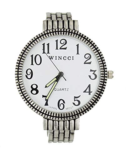 (Women's Easy Read Silver Tone Bangle Cuff Watch-Large Dial)