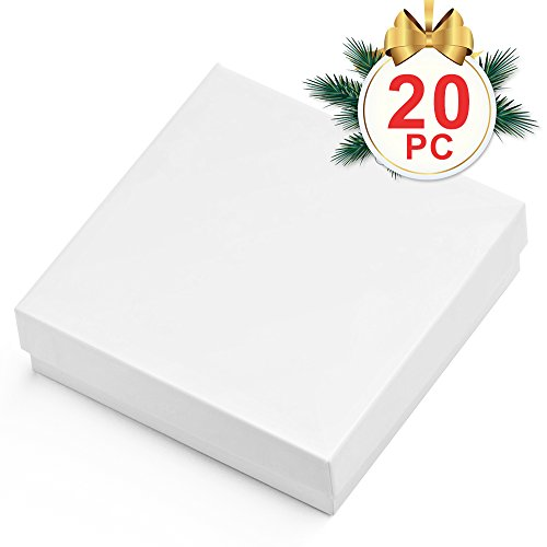 MESHA Cardboard Paper Box for Jewelry and Gift 3.5x3.5x1 Inch Thick White Paper Box With Cotton Lining, pack of 20