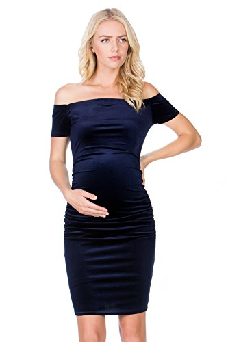 My Bump Maternity Dress Velvet - Premium Soft Stretch Cold Shoulder Baby Shower Photography Party Bodycon Navy Small