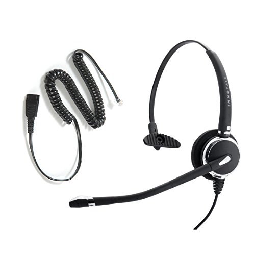 Avaya Nortel Phone 1140e, 3903, M3904, NT8B30, NT8B40 Headset, Best Professional Monaural Headset with Noise Cancel Mic Headset + RJ9 Headset Adapter in GN netcom Compatible QD - Gn Netcom Headset Adapter
