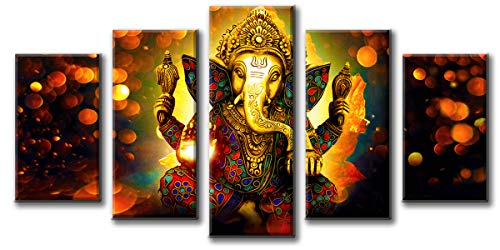 DJSYLIFE Hindu God Ganesha Wall Art Canvas Printed for Living Room Decorative Painting Modern Home Decor 5pcs HD Print Lord Ganesha Elephant Picture Art Wall Framed Ready to Hang (40''W x 22''H)