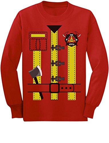 Fireman Uniform Firefighter Halloween Costume Toddler/Kids Long Sleeve T-Shirt 5/6 Red -