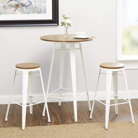 Better Homes and Gardens Harper 3-Piece Pub Set Bar-Style 42 Table with Two Seating 29 White