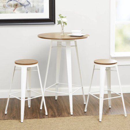 "Better Homes and Gardens Harper 3-Piece Pub Set Bar-Style 42"" Table with Two Seating 29"" (White) from Better Homes & Gardens"