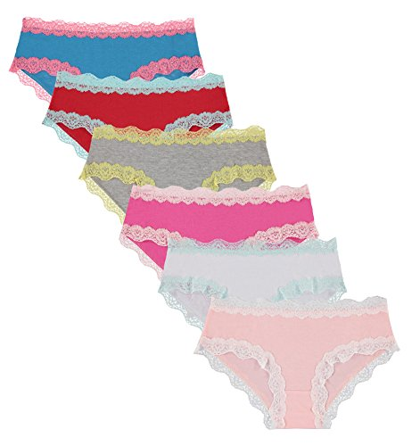 Lace Trim Cotton Hipster Panties (Underwear Lace Womens Trim Hipster)