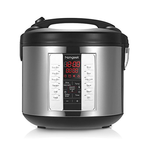 Homgeek 650W Professional Rice Cooker Essential Multifunctional Household Electrical Appliances with Food Steamer , 5L 20 Cup Cooked