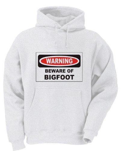 BEWARE OF THE BIGFOOT Youth Hooded Sweatshirt (for Kids) WHITE LARGE