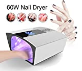 60W Nail Dryer-Lumcrissy 60W/48W Built-in Fan LED UV Lamp Nail Dryer Powerful Nail Gel Curing Drying Lamp Light for Both Hand Nail Tool Manicure/Pedicure (White)