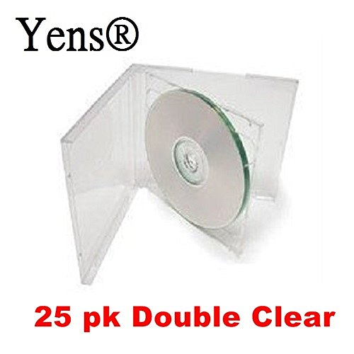 Yens Double CD Jewel Case, Assembled, Clear, 25 Piece (Dual Cd Clear Jewel Case)