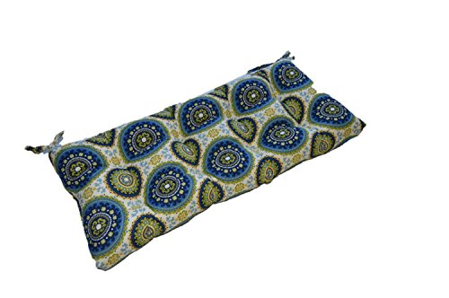 Bohemian Sundial Print - Blue Green Indoor / Outdoor Tufted Cushion for Bench, Swing, Glider - Choose Size (45