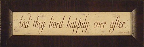 And They Lived Happily Ever After by Donna Atkins 7x21 Wedding Gift Sign Framed Art Print Picture