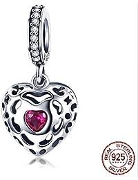 Berloque Charm Pandora Prata Maciça 925 Coração Romântico