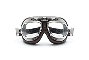 Motorcycle Vintage Brown Goggles - Aviator Style - Chrome Plating Steel - Antifog and Anticrash Lens - by Bertoni Italy-AF191CRB (Brown) Motorbike Helmets Goggles