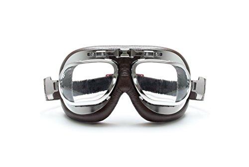 Motorcycle Vintage Brown Aviator Goggles - Chrome Plating Steel - Antifog and Anticrash Lens - by Bertoni Italy-AF191CRB (Brown) Motorbike Helmets Goggles (Aviator Goggles Kinder)