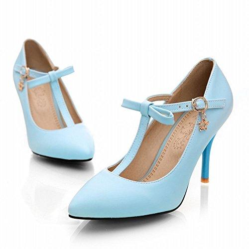 MissSaSa Damen eleant high-heel T-Spange Pointed Toe Schnalle Pumps mit Schleife und Stiletto Blau