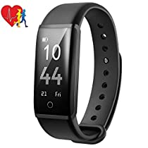 Fitness Tracker Mpow H2 Smart Bracelet with Heart Rate Monitor,Pedometer with Steps Tracking, Calorie Burned, Distance Traveled, Route Painted, Smart Watch with Multiple Sport Modes, Call,Text and SNS Notifications, Adjustable Vibration Intensity, USB Direct Charge for iOS and Android Smart phones Blue