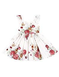 Flofallzique Summer Floral Girls Dress Casual Vintage Ruffle Toddler Dress 1-8 Y