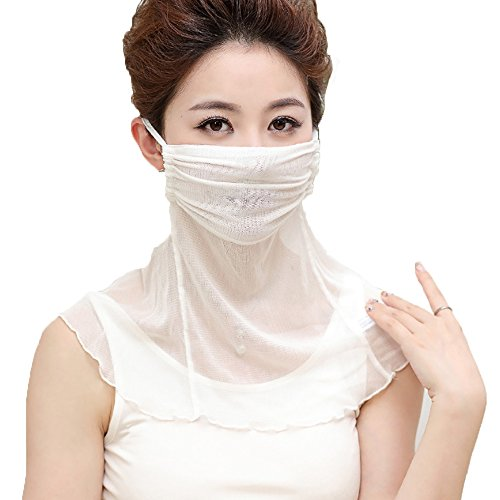 YAKEF Natural Silk mask Scarf Women's Anti-dust Mask Prevent Sun Mask Mulberry Silk Face Veil Small Scarf. (White) ()