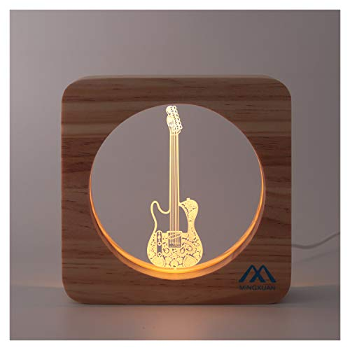 Creative Cute 3D Night Light Electric Guitar Wooded