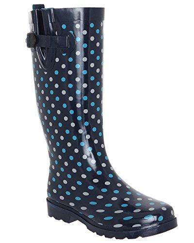 Capelli New York Shiny On the Dot Printed Ladies Rubber Rain Boot Dark Blue 9