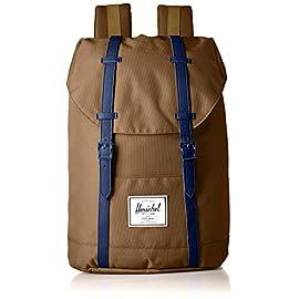 Herschel Supply Co. Retreat Backpack 7 Backpack featuring magnetic buckle straps at front, reinforced base, and front logo patch Contoured adjustable shoulder straps Pockets: 1 exterior