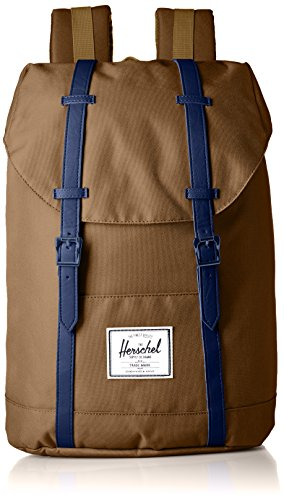 Herschel Supply Co. Retreat Backpack 1 Backpack featuring magnetic buckle straps at front, reinforced base, and front logo patch Contoured adjustable shoulder straps Pockets: 1 exterior