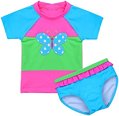 iEFiEL 2PCS Baby Girl Swimsuit Swimwear Bathing Suit Toddler Kid Rash Guard Bikini Set UPF 50 UV