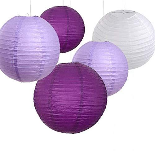 18-Pack Plum Purple Violet White Paper Lantern Lamp Shades for Wedding Birthday Bridal Shower Hen Party Decoration