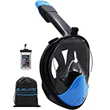HELLOYEE Snorkel Mask GoPro Compatible Panoramic View Mask For Adults And Kids, Snorkeling Mask Full Face Anti-Fog Anti-Leak Design With Waterproof Phone Pouch