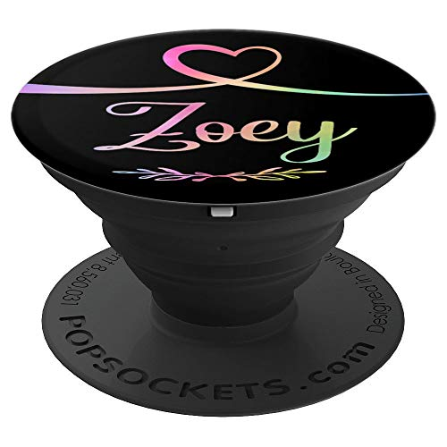 Zoey Heart Rainbow Personalized Name Black Zoey Gift - PopSockets Grip and Stand for Phones and Tablets