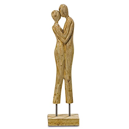 The Kiss, Couple Embracing, Power of Love Themed, Wooden Sculpture, Artisinal Design, Hand Carved Sustainably Harvested Mango Wood, Gallery Base, 22 Inches Tall, By Whole House Worlds (Hand Carved Wooden Mantel)